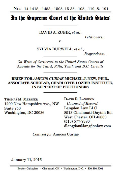 Amicus brief submitted Jan. 2016 by Michael J. New, Ph.D., Associate Scholar of CLI