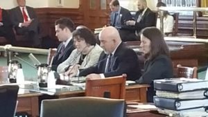 Tara Sander Lee, Ph.D., (Right), presenting her testimony at a hearing on Texas Senate Bill 8 on February 15, 2017.